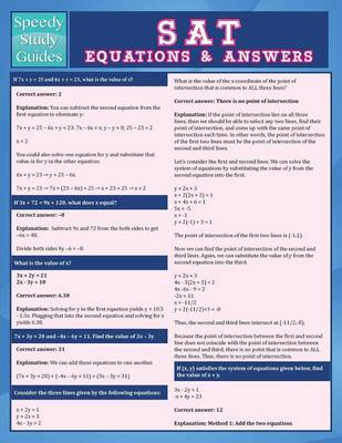 SAT Equations & Answers (Speedy Study Guide) (Paperback)