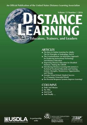 Distance Learning, Volume 13 Issue 1: For educators, Trainers, and Leaders (Paperback)