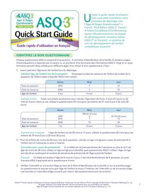 Ages & Stages Questionnaires (R) (ASQ (R)-3): Quick Start Guide (French): A Parent-Completed Child Monitoring System (Paperback)