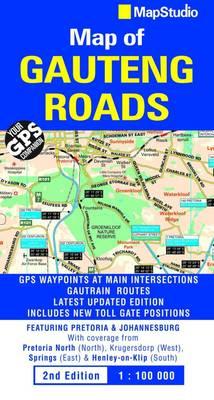 Roads of Gauteng street map (Sheet map, folded)