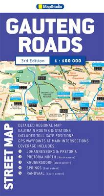 Street map of Gauteng roads (Sheet map, folded)