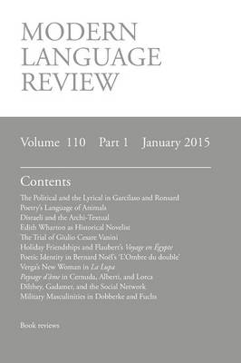 Modern Language Review (110: 1) January 2015 (Paperback)