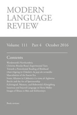 Modern Language Review (111: 4) October 2016 (Paperback)