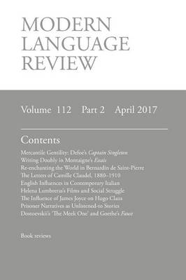 Modern Language Review (112: 2) April 2017 (Paperback)