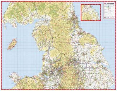 Northern England Road Map (Sheet map, flat)