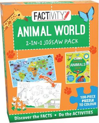 Factivity Animal World 2-in-1 Jigsaw Pack: 100-Piece Puzzle to Colour