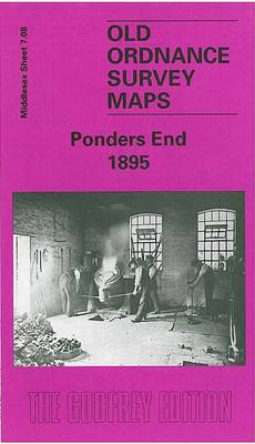Ponders End 1895: Middlesex Sheet  07.08 - Old O.S. Maps of Middlesex (Sheet map, folded)