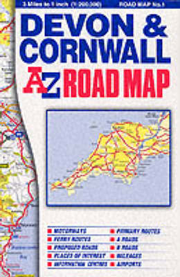 Devon and Cornwall Road Map (Sheet map, folded)