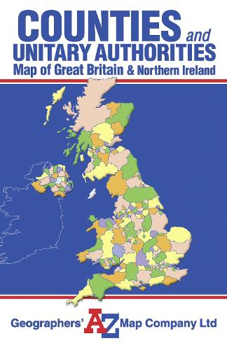 Great Britain Counties and Unitary Authorities Map - A-Z Road Maps & Atlases (Sheet map, folded)