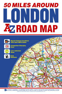 50 Miles Around London Road Map - A-Z Road Maps & Atlases (Sheet map, folded)