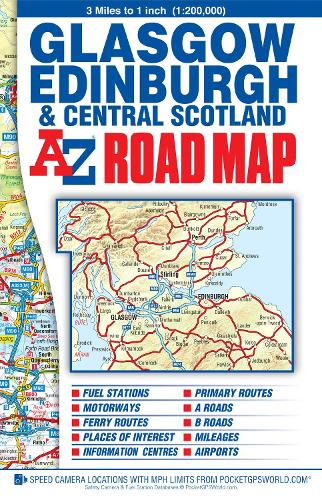 Central Scotland Road Map - A-Z Road Map (Sheet map, folded)