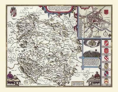 """John Speed Map of Herefordshire 1611: 20"""" x 16"""" Photographic Print of the County of Herefordshire - England (Sheet map, flat)"""