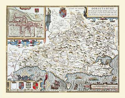 """John Speed Map of Dorsetshire 1611: 20"""" x 16"""" Photographic Print of the County of Dorset - England (Sheet map, flat)"""