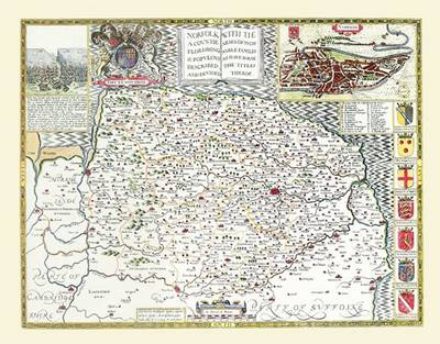 "John Speed Map of Norfolk 1611: 20"" x 16"" Photographic Print of the County of Norfolk - England (Sheet map, flat)"