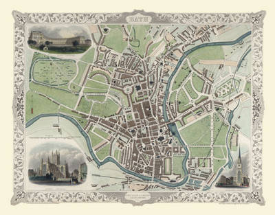 "John Tallis Map of Bath 1851: 20"" x 16"" Photographic Print of City of Bath (Sheet map, flat)"