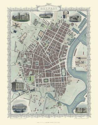 """John Tallis Map of Belfast 1851: 20"""" x 16"""" Photographic Print of Belfast (Sheet map, flat)"""