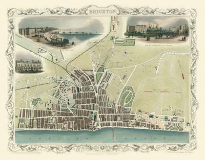 "John Tallis Map of Brighton 1851: 20"" x 16"" Photographic Print of Brighton (Sheet map, flat)"