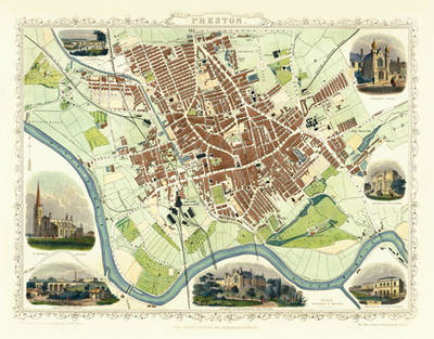 "John Tallis Map of Preston 1851: 20"" x 16"" Photographic Print of Preston (Sheet map, flat)"
