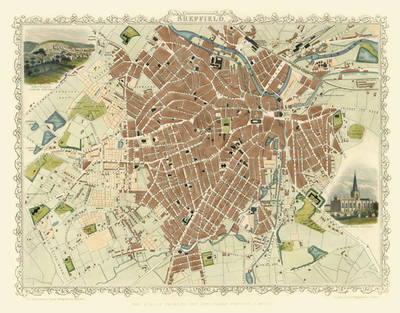 "John Tallis Map of Sheffield 1851: 20"" x 16"" Photographic Print of Sheffield (Sheet map, flat)"