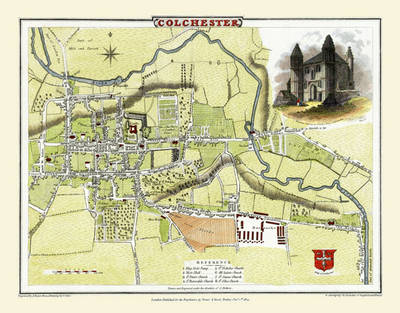 Cole and Roper Old Map of Colchester 1805 by Cole and Roper