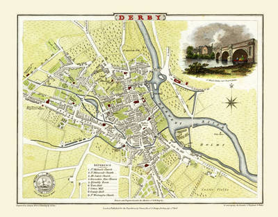 """Cole and Roper Old Map of Derby 1806: 20"""" x 16"""" Photographic Print of Derby (Sheet map, flat)"""