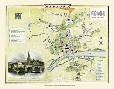 "Cole and Roper Old Map of Bedford 1807: 20"" x 16"" Photographic Print of Bedford (Sheet map, folded)"