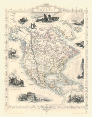 "John Tallis Map of North America 1851: 20"" x 16"" Photographic Print of  North America  (Sheet map, rolled)"
