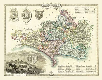 "Thomas Moule Map of Dorsetshire 1836: 20"" x 16"" Photographic Print of the County of Dorsetshire - England (Sheet map, flat)"