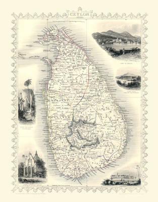 "John Tallis Map of Ceylon 1851: 20"" x 16"" Photographic Print (Sheet map, rolled)"