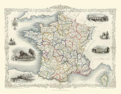 John Tallis Map of France 1851: Photographic Print of Map of France 1851 by John Tallis (Sheet map, flat)