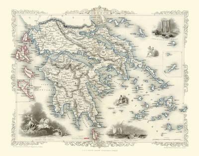 John Tallis Map of Greece 1851: Photographic Print of Map of Greece 1851 by John Tallis (Sheet map, flat)