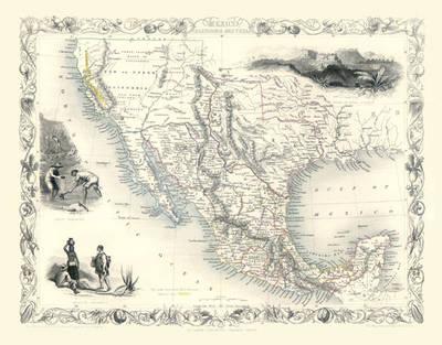 John Tallis Map of Mexico, California and Texas 1851: Photographic Print of Map of Mexico, California and Texas 1851 by John Tallis (Sheet map, flat)