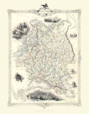 John Tallis Map of Russia in Europe 1851: Photograpic Print of Map of Russia in Europe 1851 by John Tallis (Sheet map, flat)
