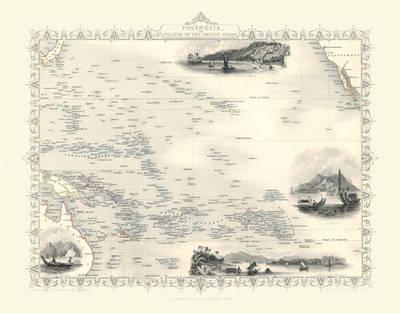 John Tallis Map of Polynesia 1851: Photographic Print of Map of Polynesia 1851 by John Tallis (Sheet map, flat)