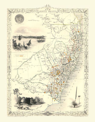 John Tallis Map of New South Wales Australia 1851: Photographic Print of Map of New South Wales Australia 1851 by John Tallis (Sheet map, flat)