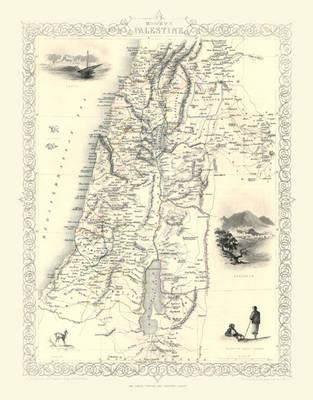 John Tallis Map of Modern Palestine 1851: Photographic Print of Map of Modern Palestine 1851 by John Tallis (Sheet map, flat)