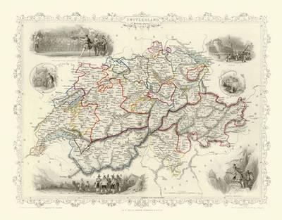 John Tallis Map of Switzerland 1851: Photographic Print of Map of Switzerland 1851 by John Tallis (Sheet map, flat)