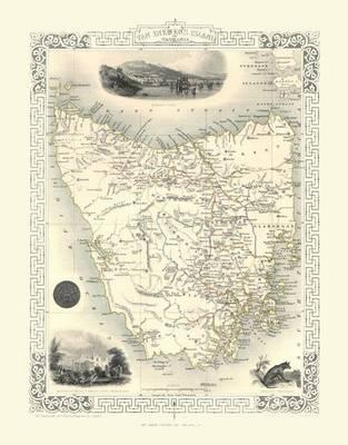John Tallis Map of Tazmania 1851: Photographic Print of Tazmania 1851 by John Tallis (Sheet map, flat)
