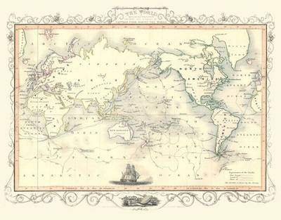 John Tallis Map of Captain Cook's Voyages Published 1851: Photographic Print of Map of World Showing Captain Cook's Voyages Produced 1851 by John Tallis (Sheet map, flat)