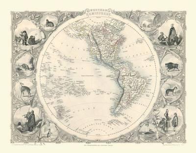 John Tallis Map of Western Hemisphere 1851: Photodraphic Print of Map of the Western Hemisphere 1851 by John Tallis (Sheet map, flat)