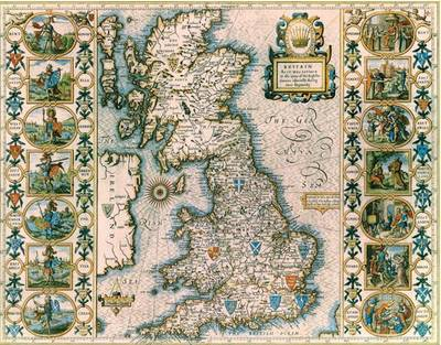 John Speeds Map of Saxon Britain: Colour Print of Map of Saxon Britain by John Speed 1611 (Sheet map, flat)
