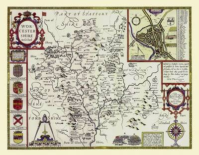 John Speeds Map of Worcester 1611: Colour Print of Map of Worcestershire 1611 by John Speed (Sheet map, flat)