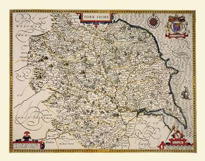 John Speed Map of Yorkshire 1611: Colour Print of County Map of Yorkshire 1611 by John Speed (Sheet map, flat)