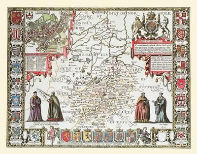 John Speeds Map of Cambridgeshire 1611: Colour Print of Map of Cambridgeshire 1611 by John Speed (Sheet map, flat)