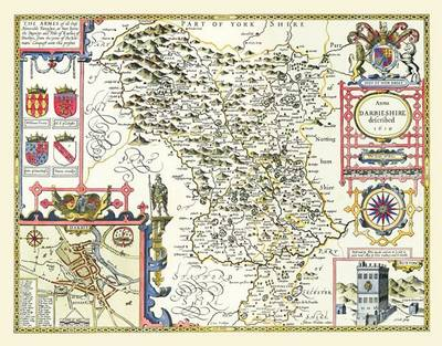 John Speeds Map of Derbyshire 1611: Colour Print of County Map of Derbyshire 1611 by John Speed (Sheet map, flat)