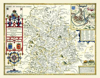 John Speeds Map of Shropshire 1611: Colour Print of County Map of Shropshire 1611 by John Speed (Sheet map, flat)