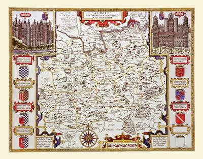 John Speed Map of Surrey 1611 by John Speed: Colour Print of County Map of Surrey by John Speed 1611 (Sheet map, flat)