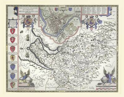 John Speeds Map of Cheshire 1611: Colour Print of County Map of Cheshire 1611 by John Speed (Sheet map, flat)