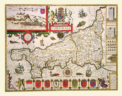 John Speeds Map of Cornwall 1611: Colour Print of County Map of Cornwall 1611 by John Speed (Sheet map, flat)