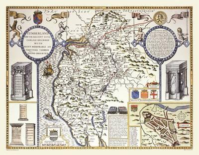 John Speeds Map of Cumberland 1611: Colour Print of Map of Cumberland 1611 by John Speed (Sheet map, flat)